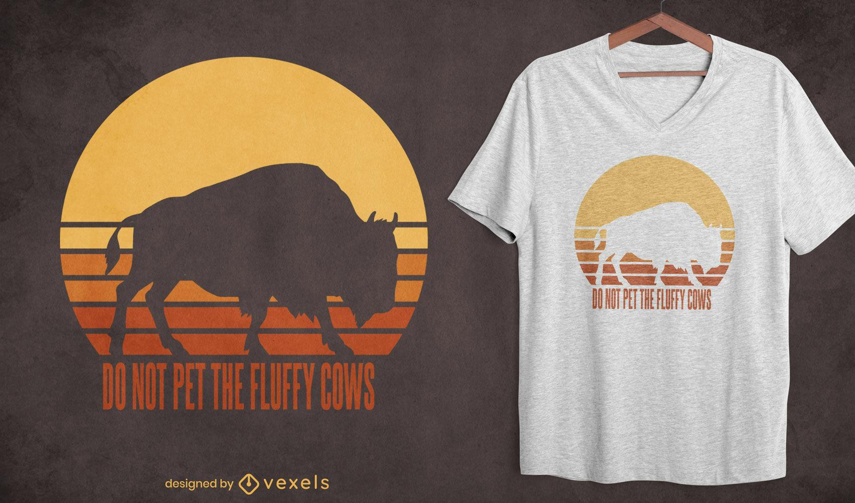 Não acaricie o design de camisetas de vacas fofas