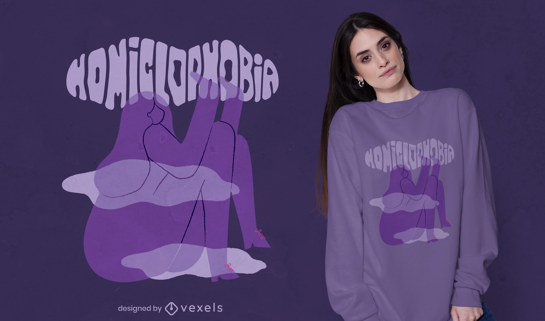 Diseño de camiseta de miedo a la niebla homiclofobia.