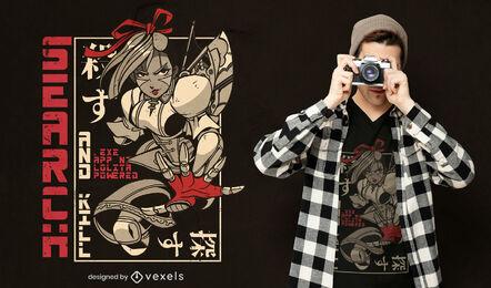 Diseño de camiseta japonesa con Lolita