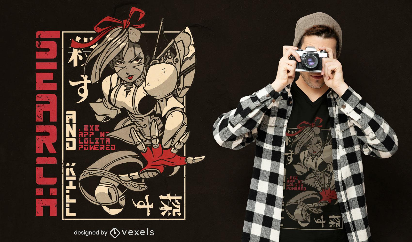 Lolita movido a design de camisetas japonesas