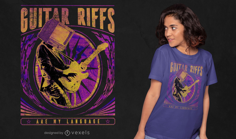 Camiseta psd trippy de riffs de guitarra