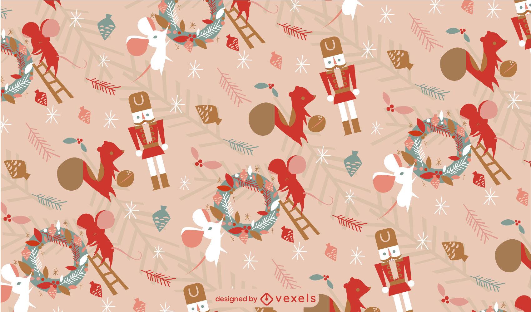 Diseño de patrón de trabajadores de animales de navidad