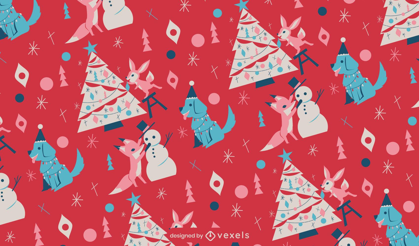 Diseño de patrón de animales de árbol de Navidad