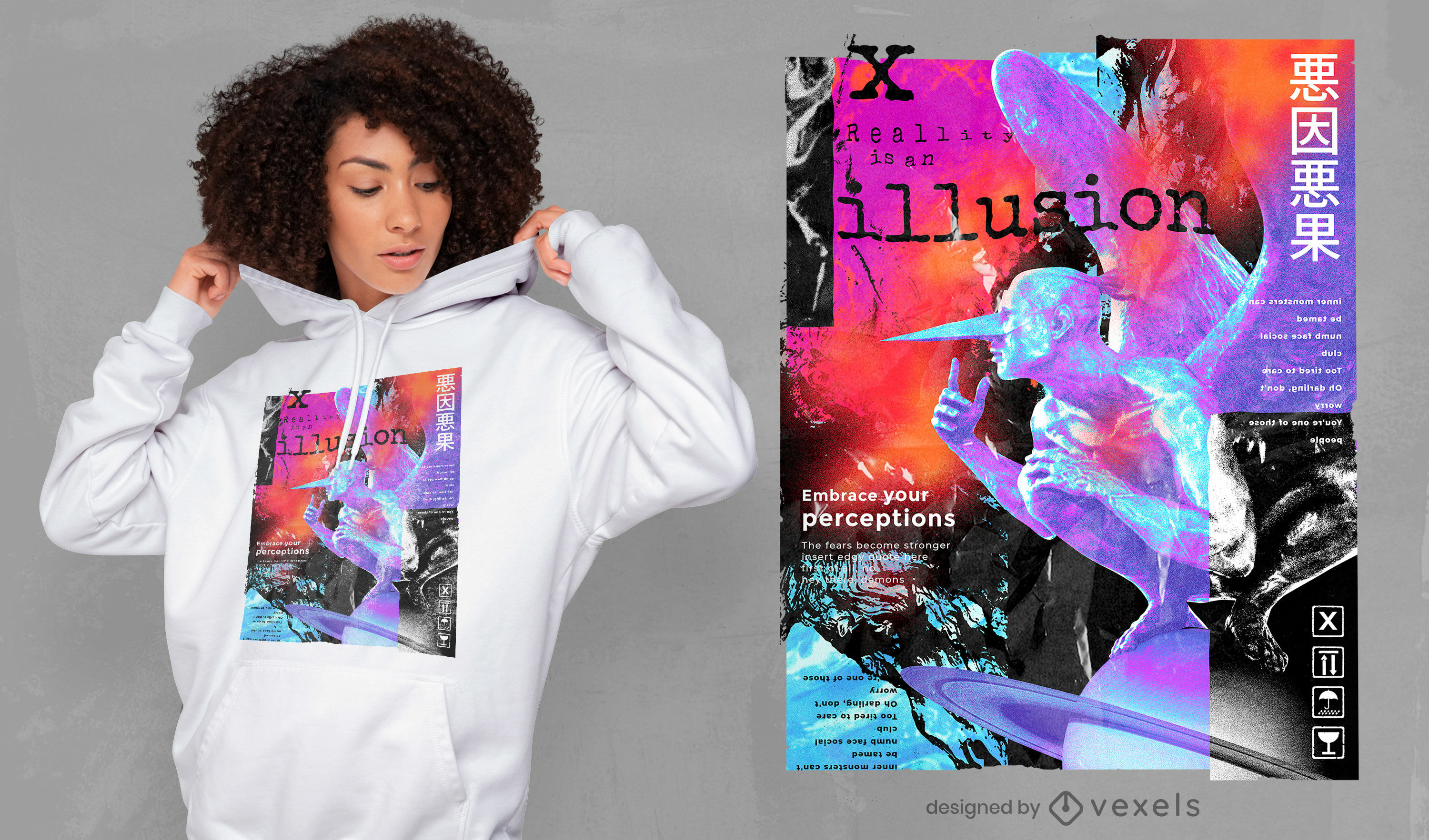 Reality illusion statue collage psd t-shirt design
