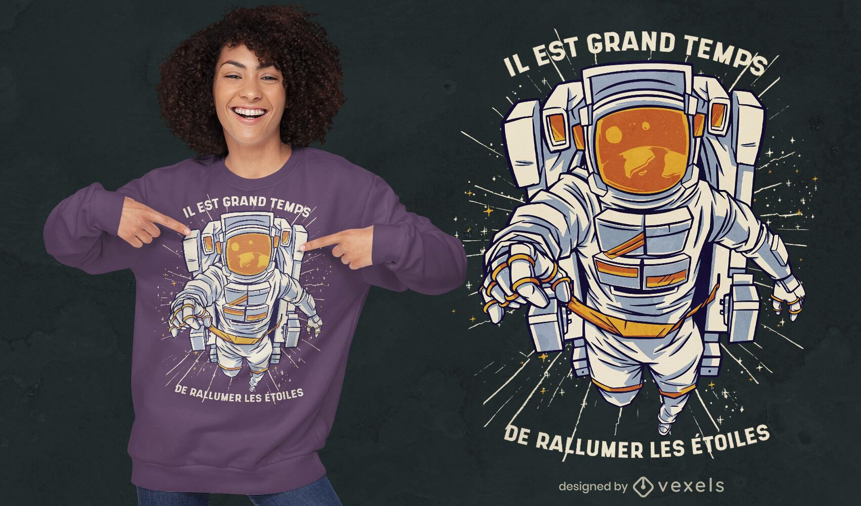 Astronaut frontal illustration t-shirt design