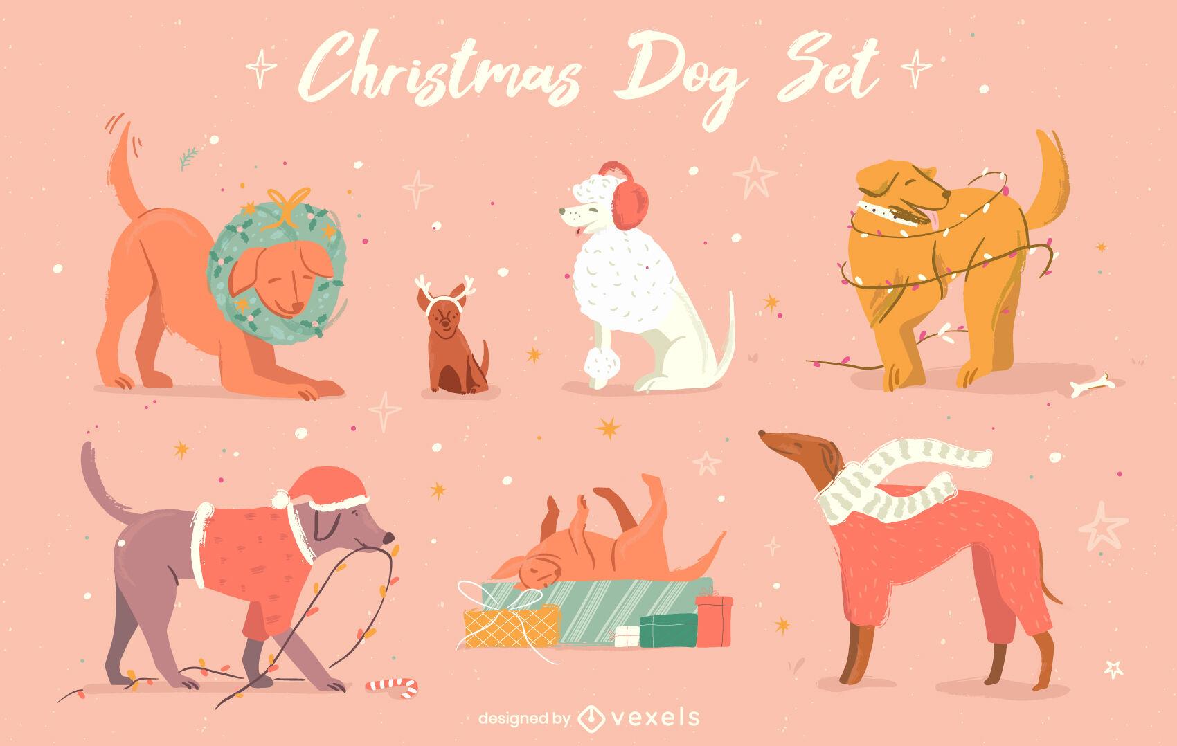 Lindo conjunto de animales de perros de vacaciones de navidad