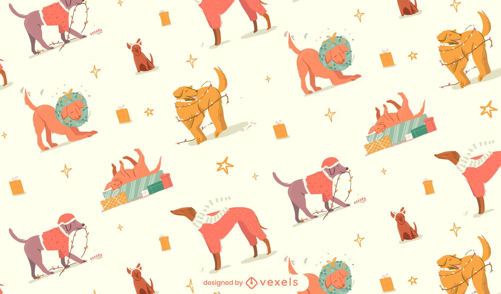 Diseño de patrón animal de perros navideños