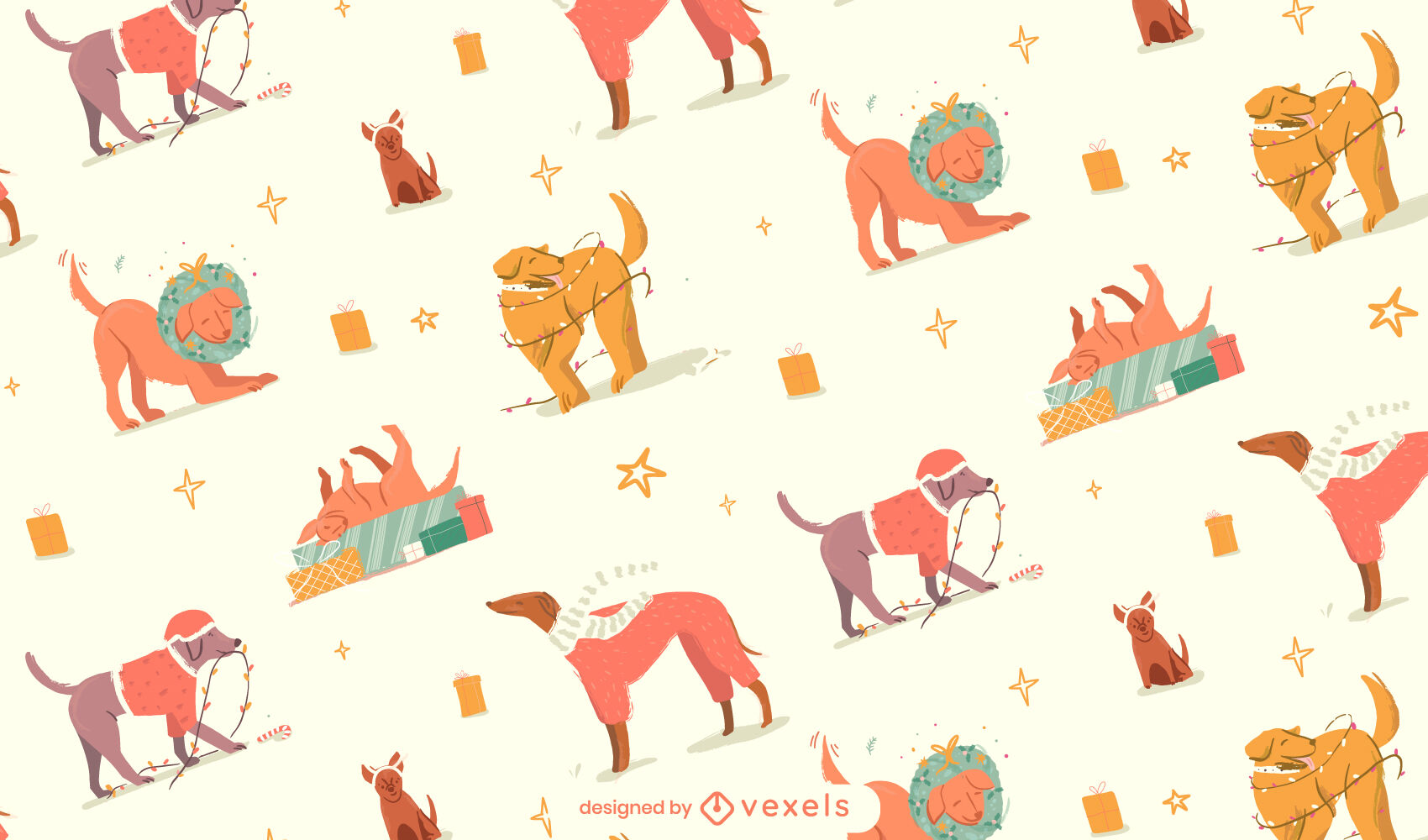 Weihnachtshunde-Tiermuster-Design
