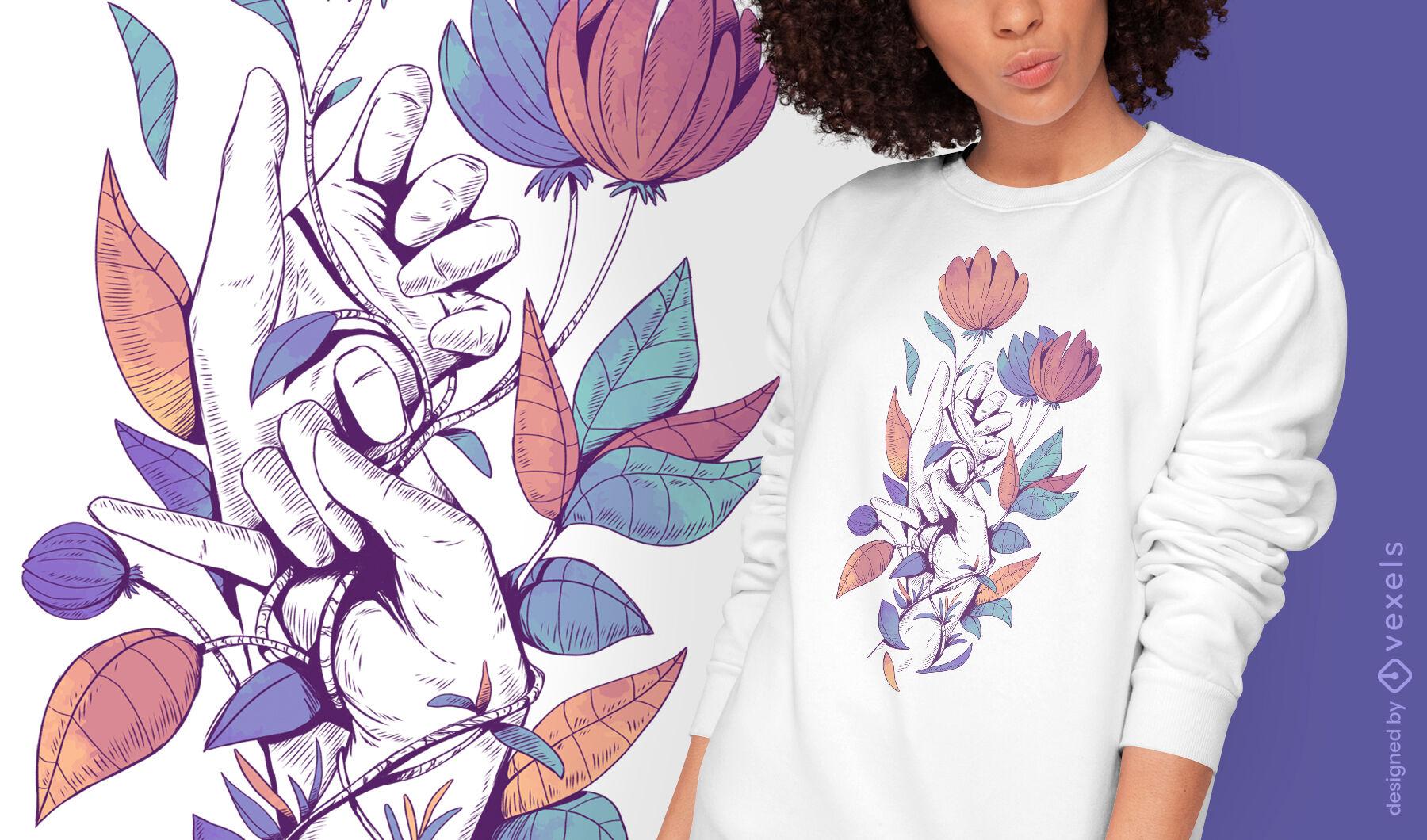 Diseño de camiseta psd de hojas y manos de color.