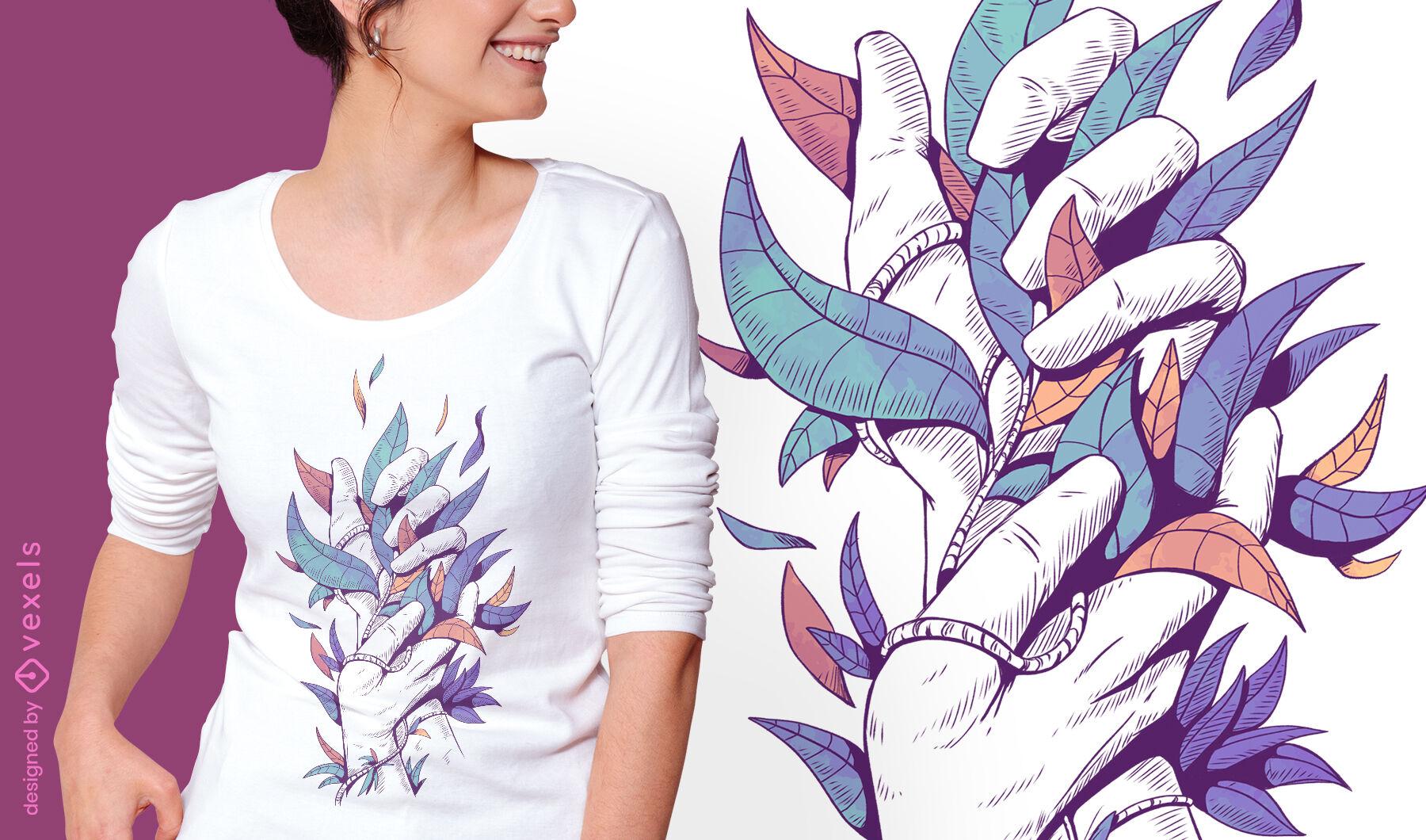 Manos sosteniendo hojas ilustración psd diseño de camiseta