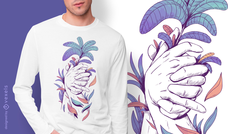 Tomados de la mano y hojas psd diseño de camiseta.