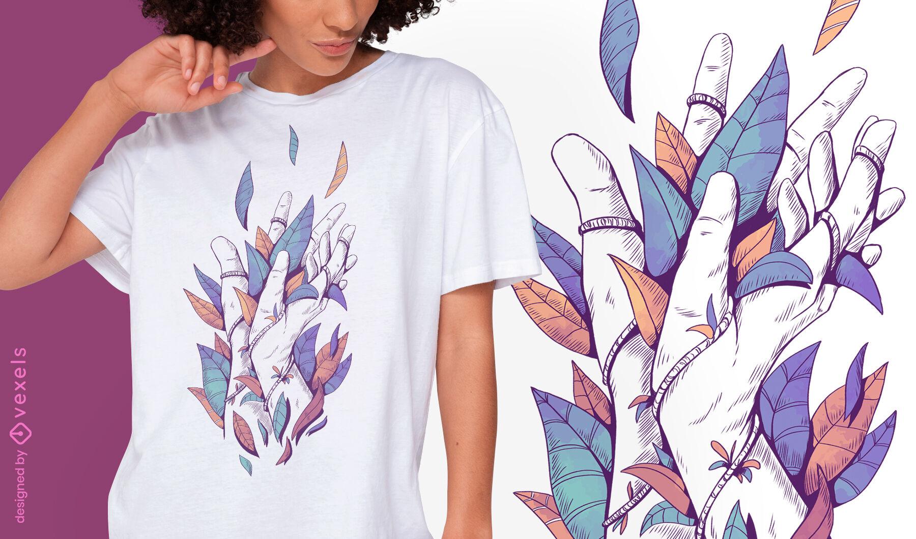 Manos con hojas de color diseño de camiseta psd