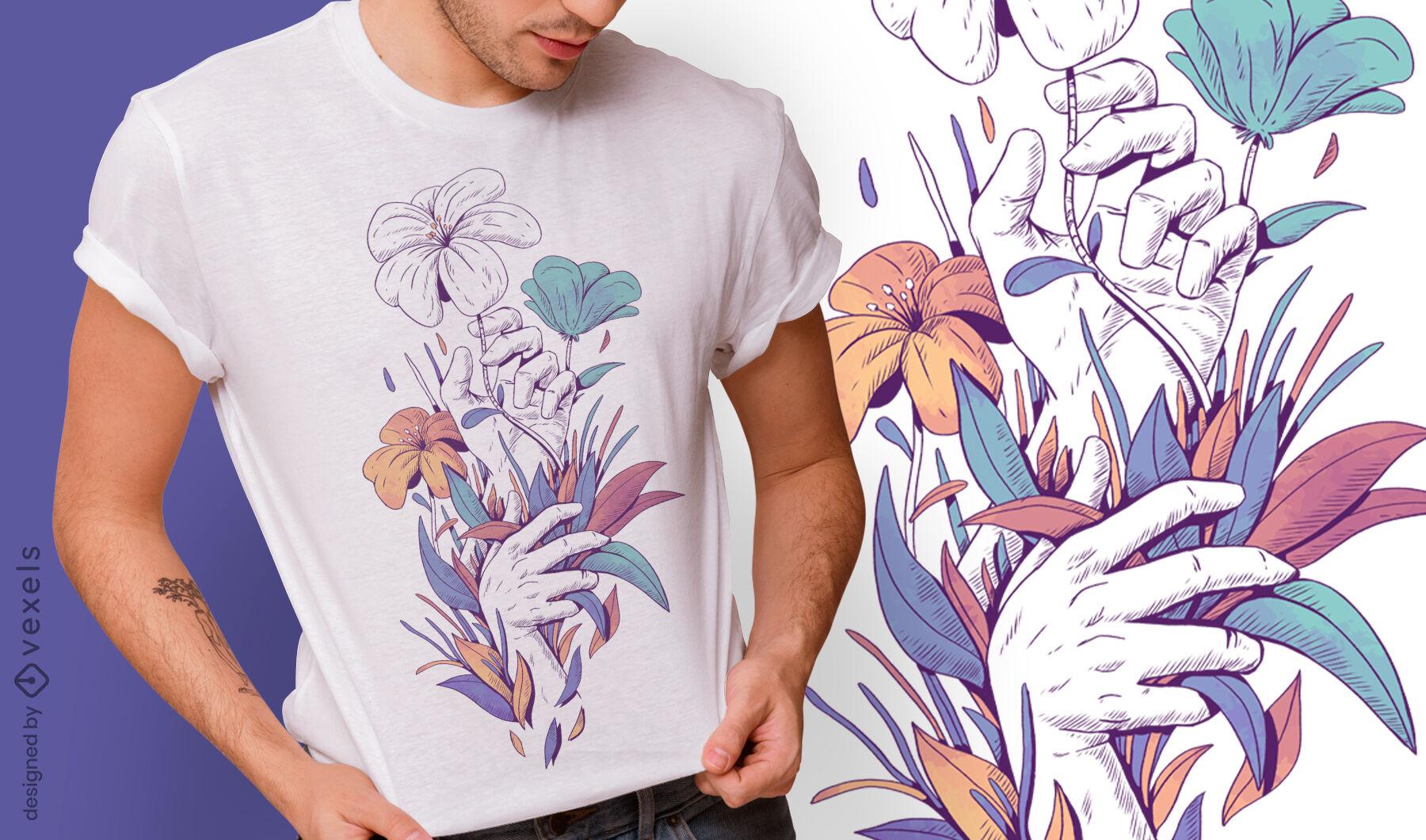 Manos con flores y hojas diseño de camiseta psd.