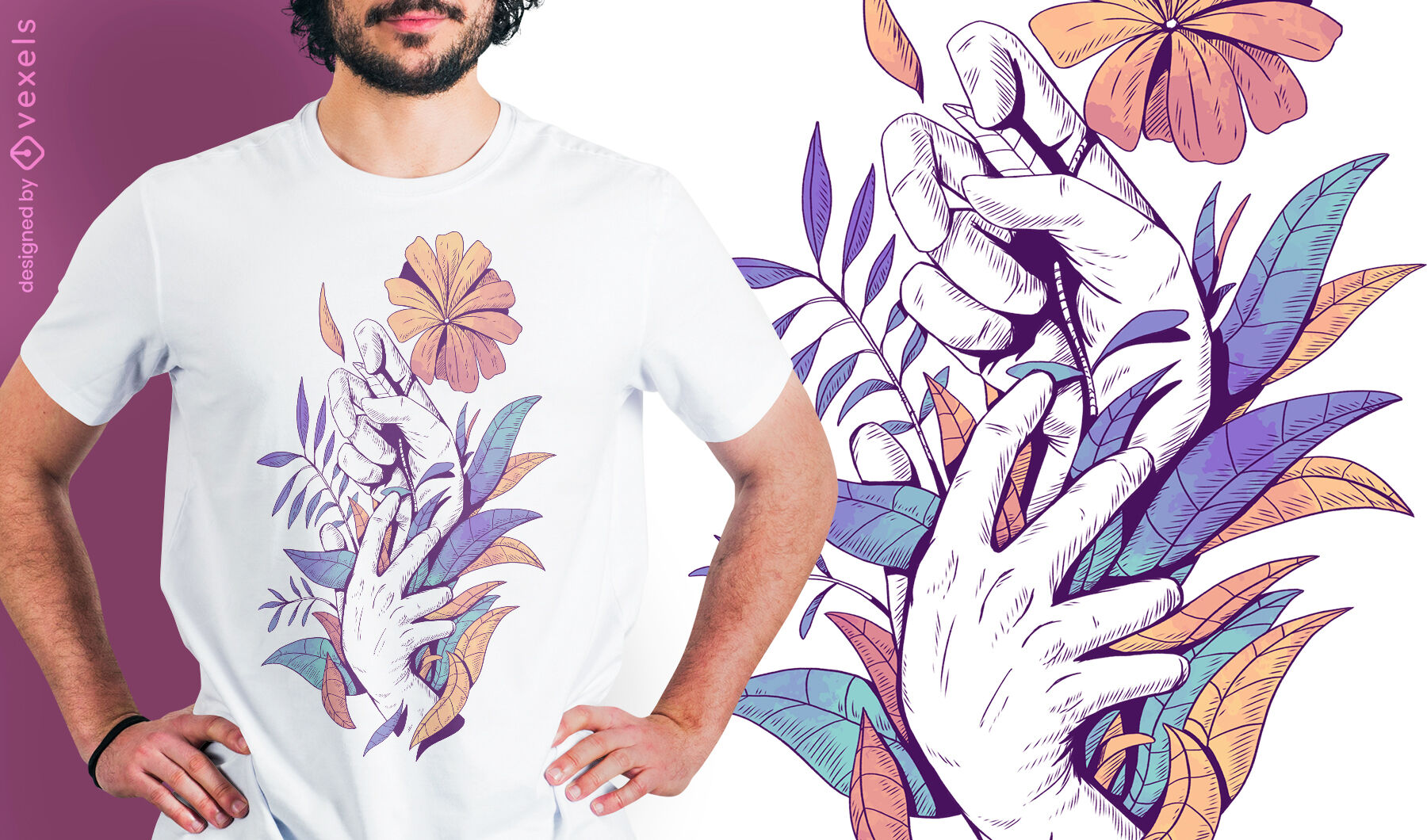 Hands holding leaves and flowers psd t-shirt design