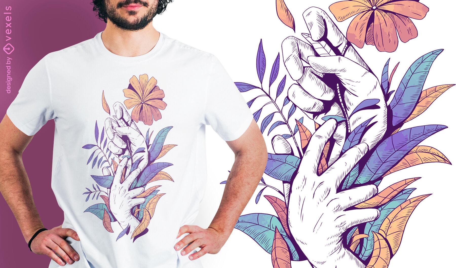 Manos sosteniendo hojas y flores diseño de camiseta psd