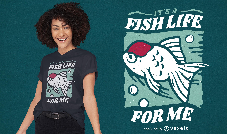 Diseño de camiseta cool fish life