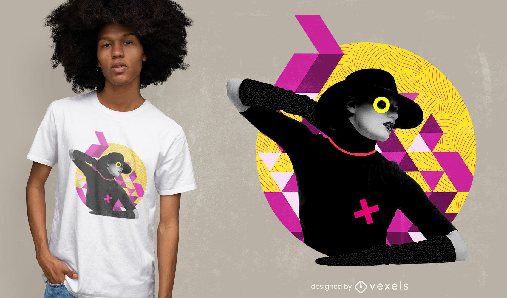 Woman in colorful abstract background t-shirt psd