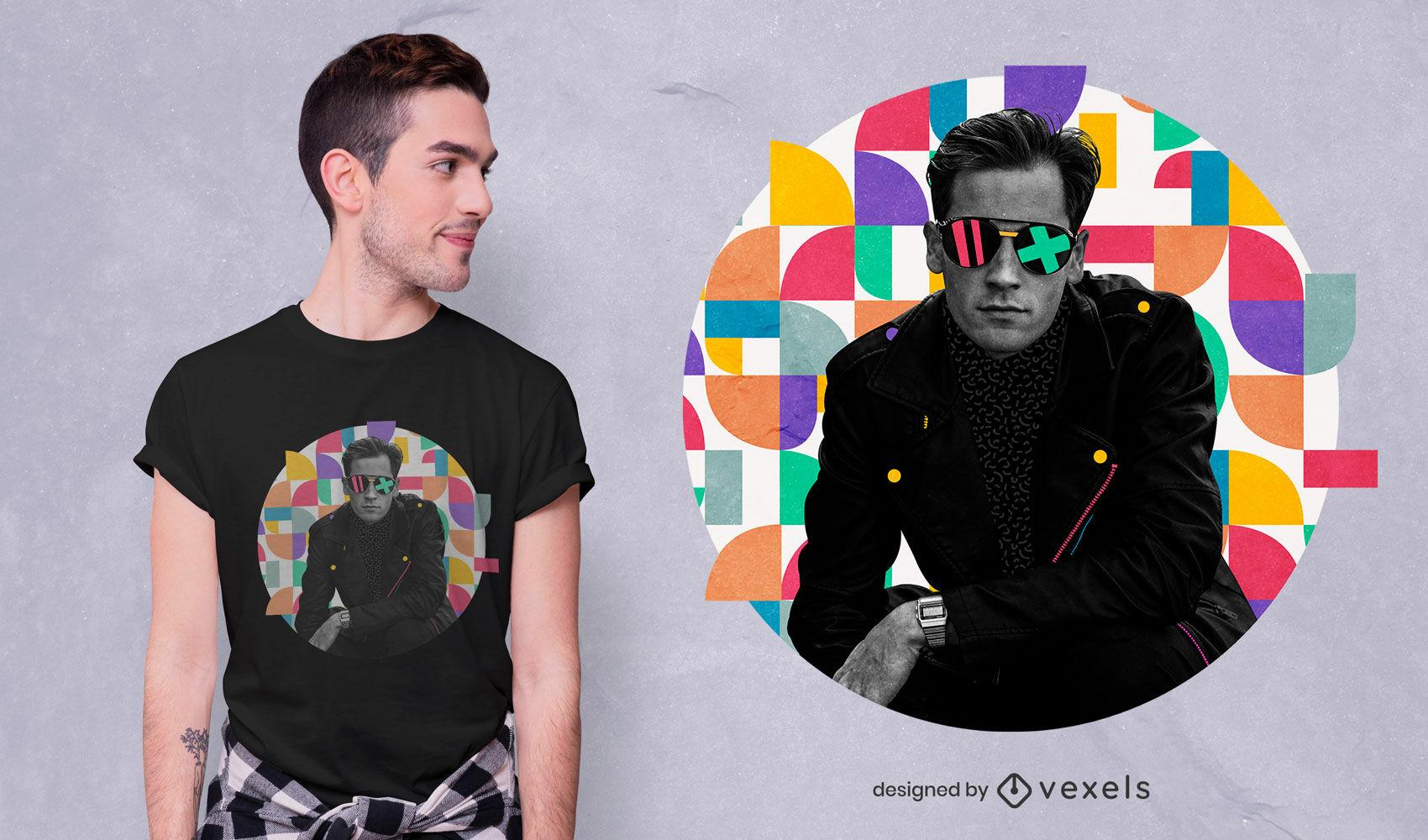 Mann im bunten abstrakten Hintergrundt-shirt psd