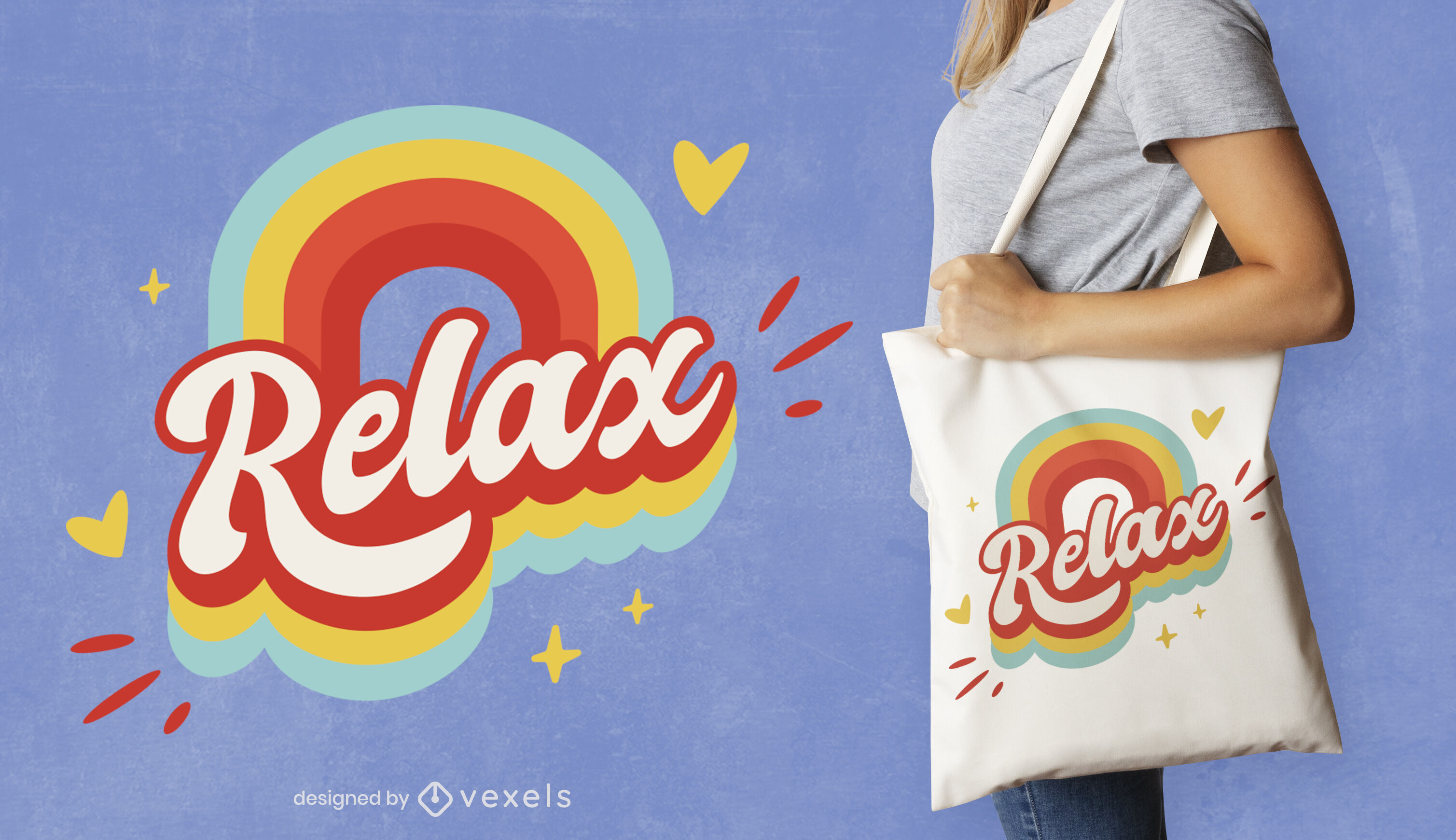 Relax rainbow retro quote tote bag design