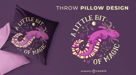 Magic axolotl animal throw pillow design
