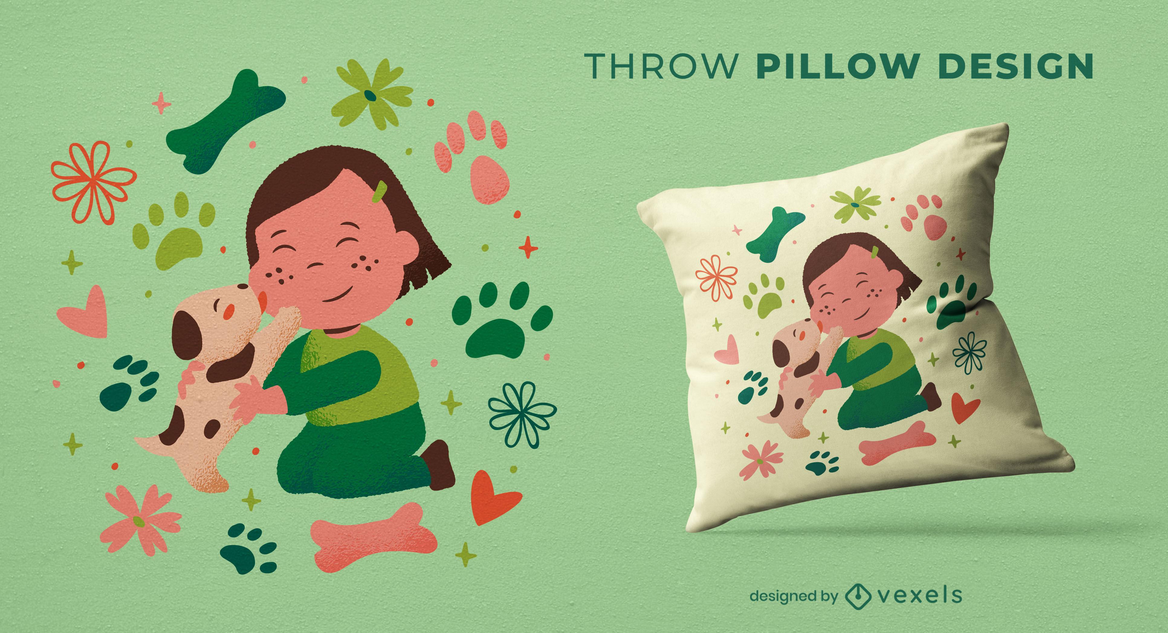 Diseño feliz de la almohada del tiro de la muchacha y del perrito