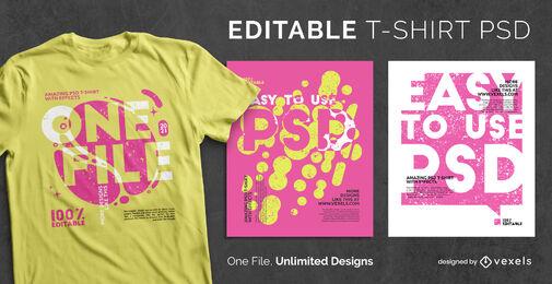 Text im Kontrast PSD skalierbare T-Shirt-Vorlage