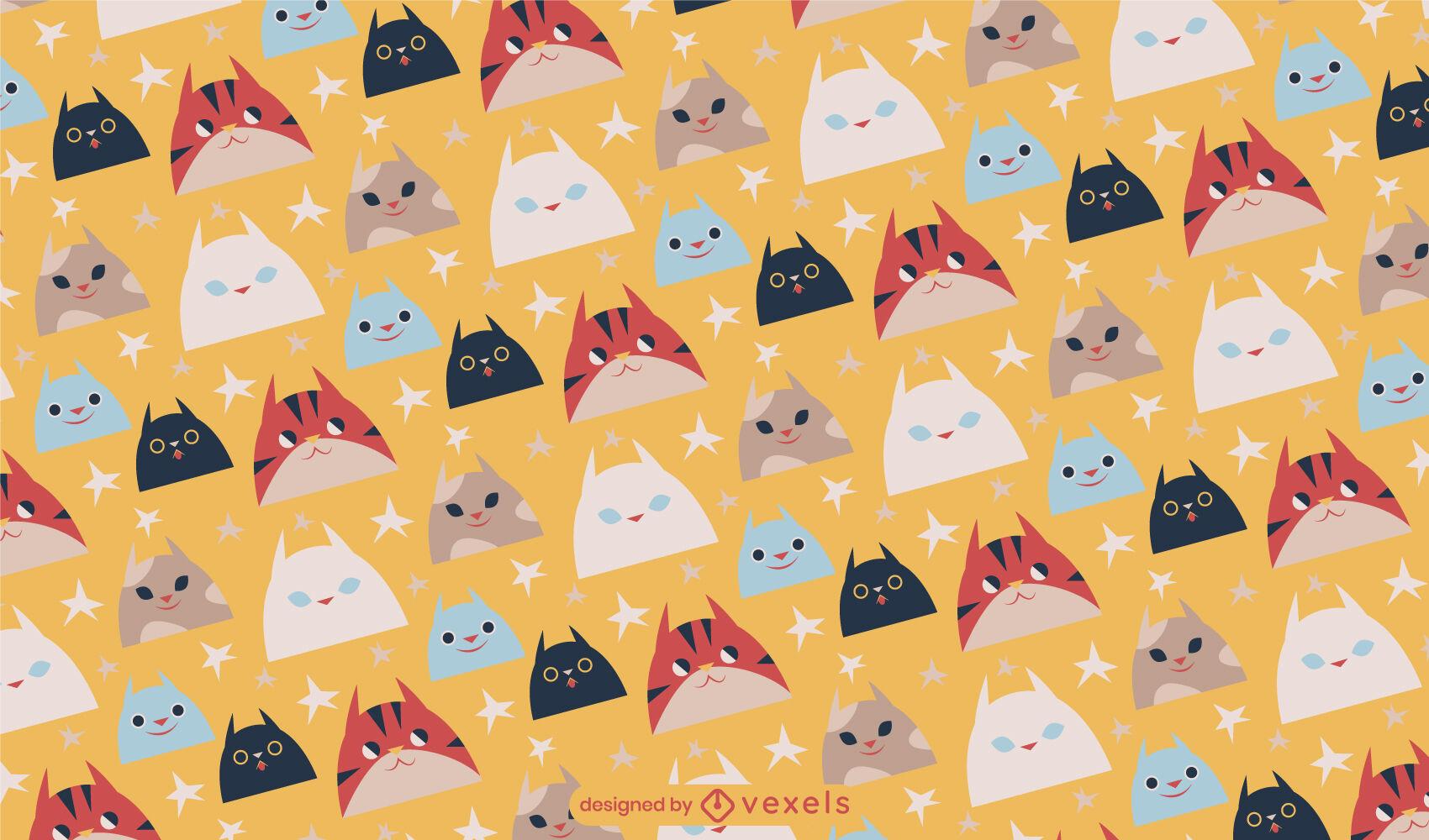 Cute cat heads animal pattern design