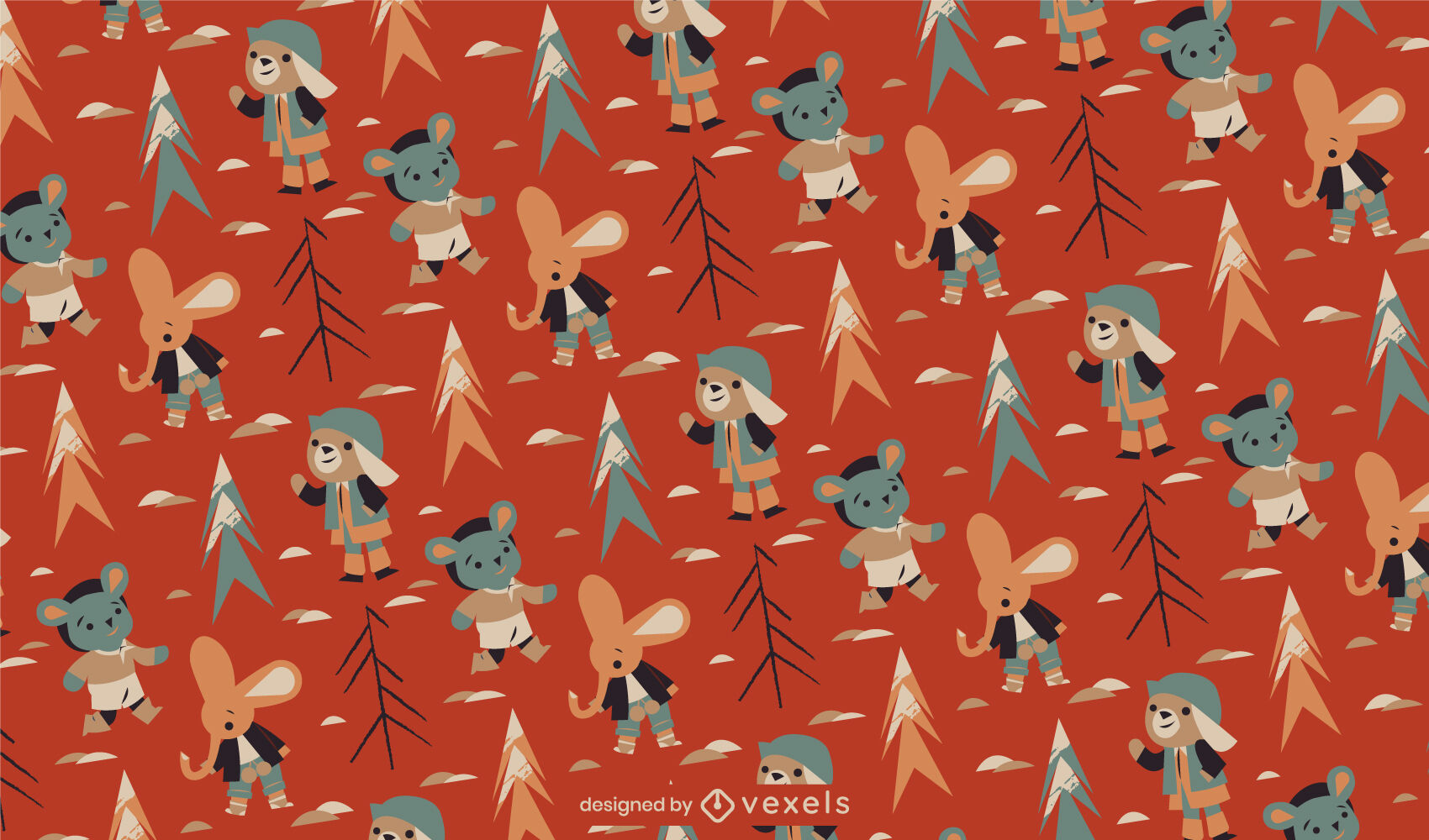 Cute animal characters winter pattern design