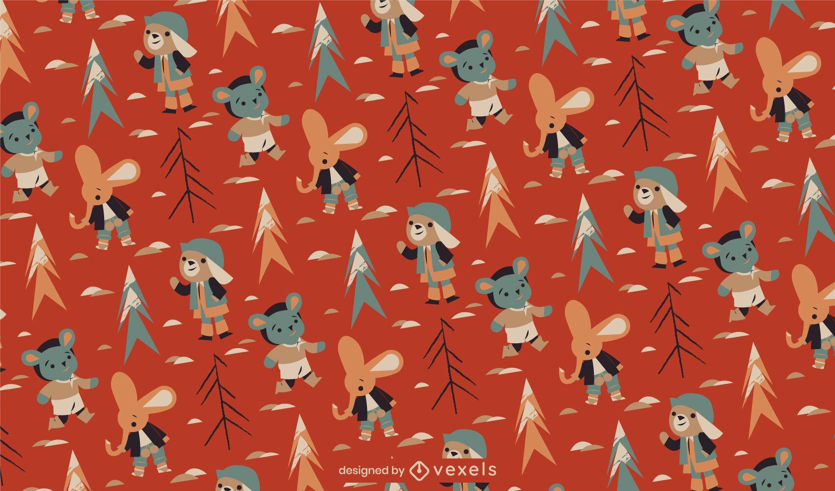 Diseño de patrón de invierno de personajes de animales lindos