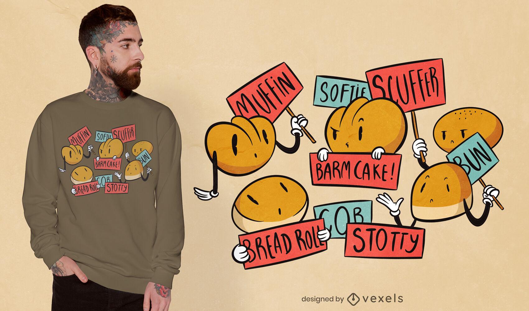 Diseño de camiseta de dibujos animados de bollos y panes.