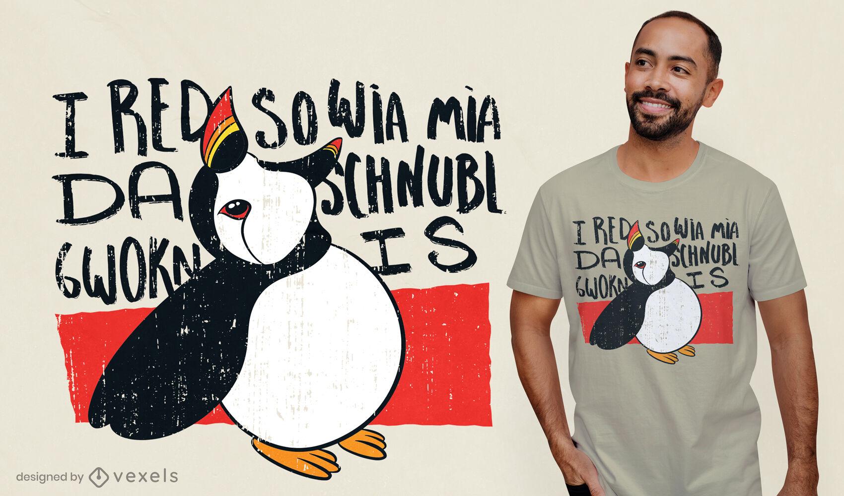 Diseño de camiseta de pájaro frailecillo Doodle