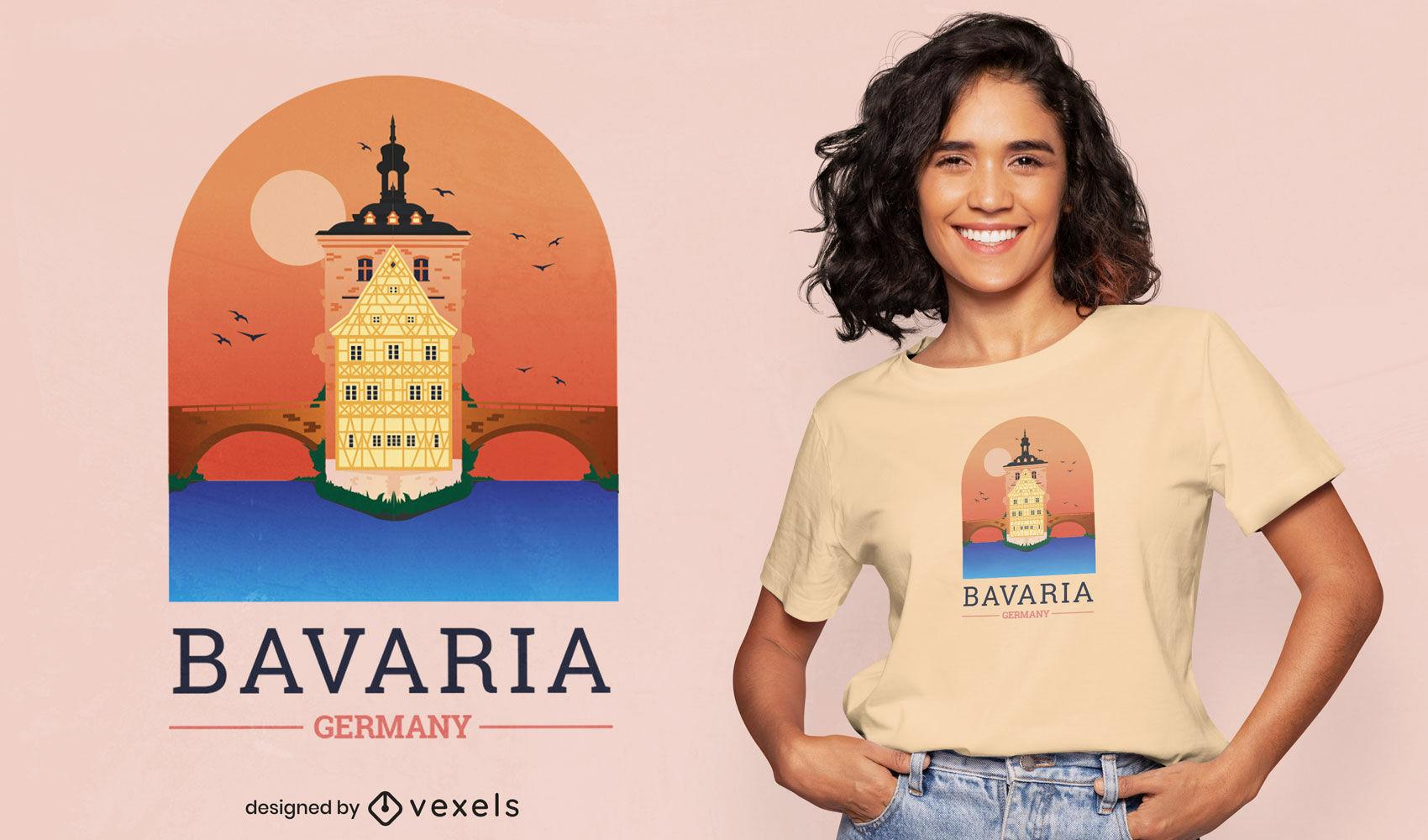 Bavaria Germany city landscape t-shirt design