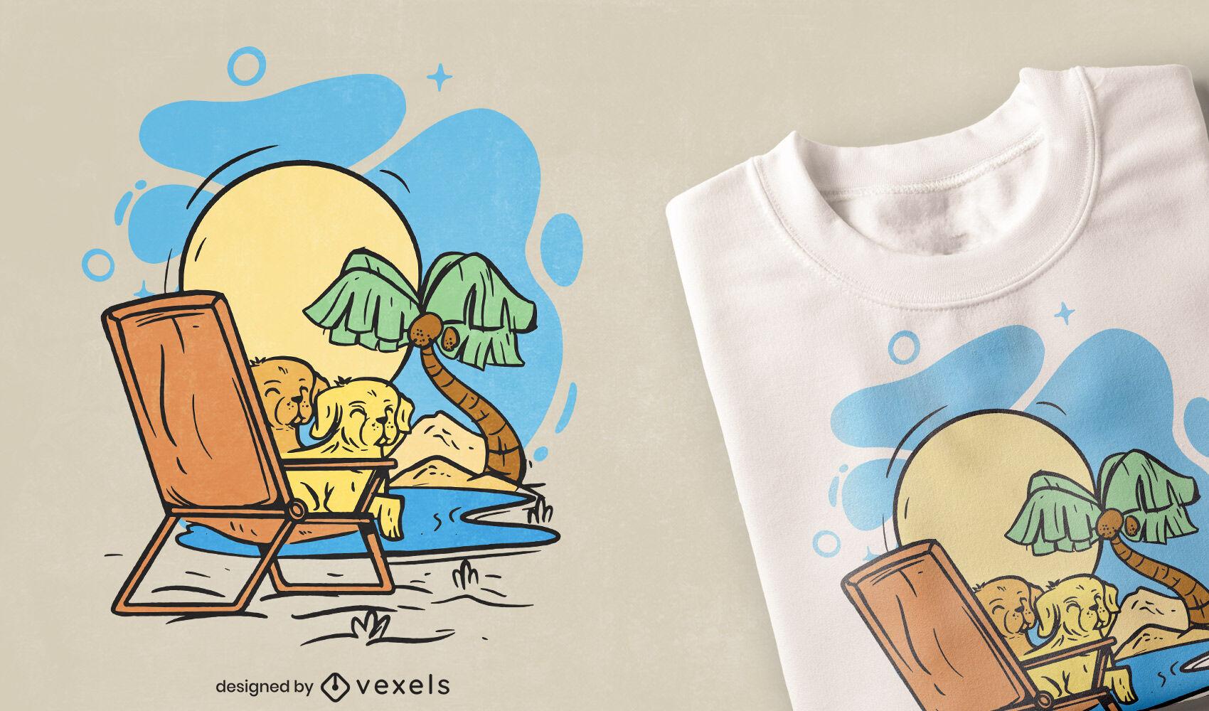 Golden retrievers en diseño de camiseta de silla de playa.