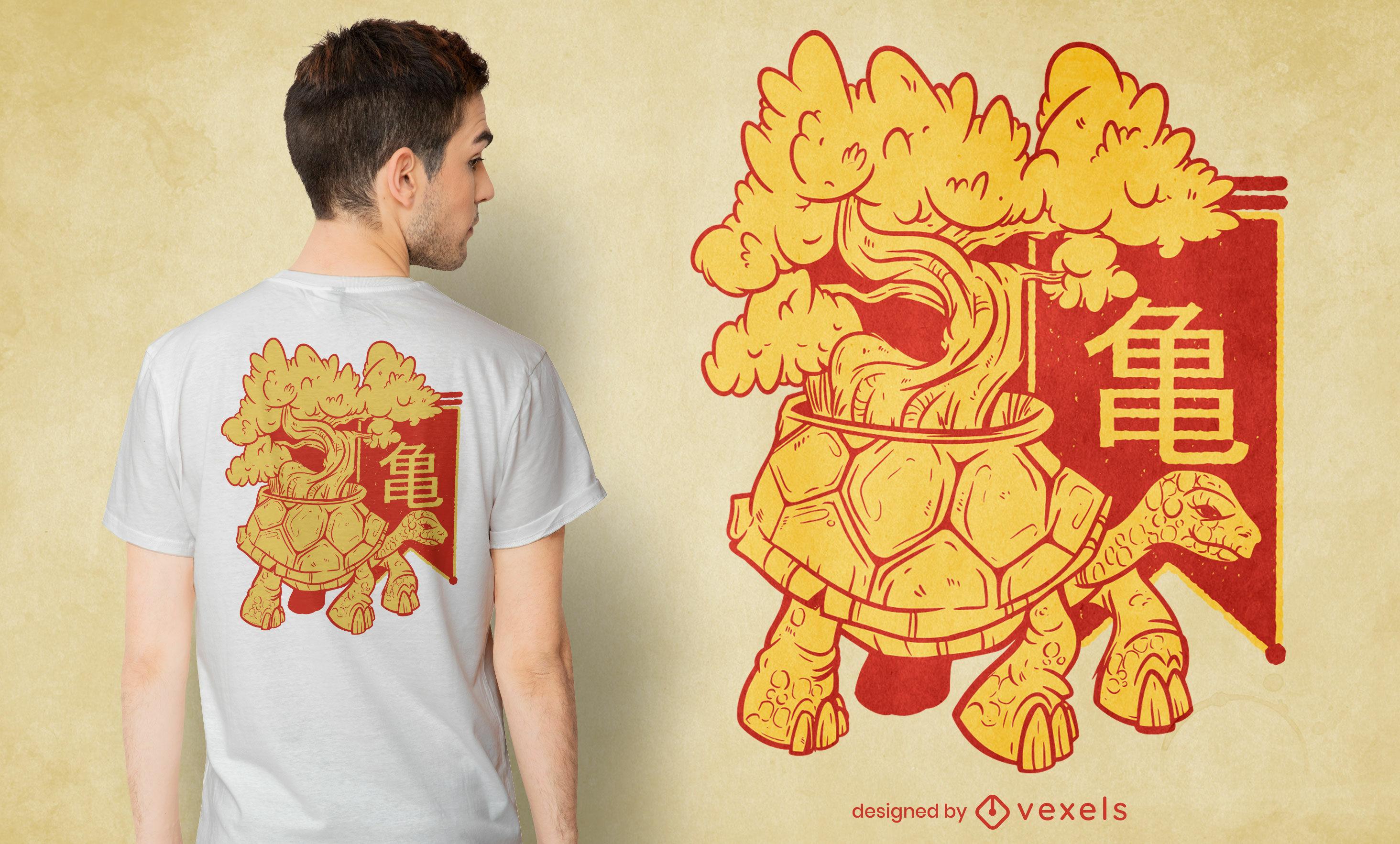 Design de t-shirt bonsai de tartaruga