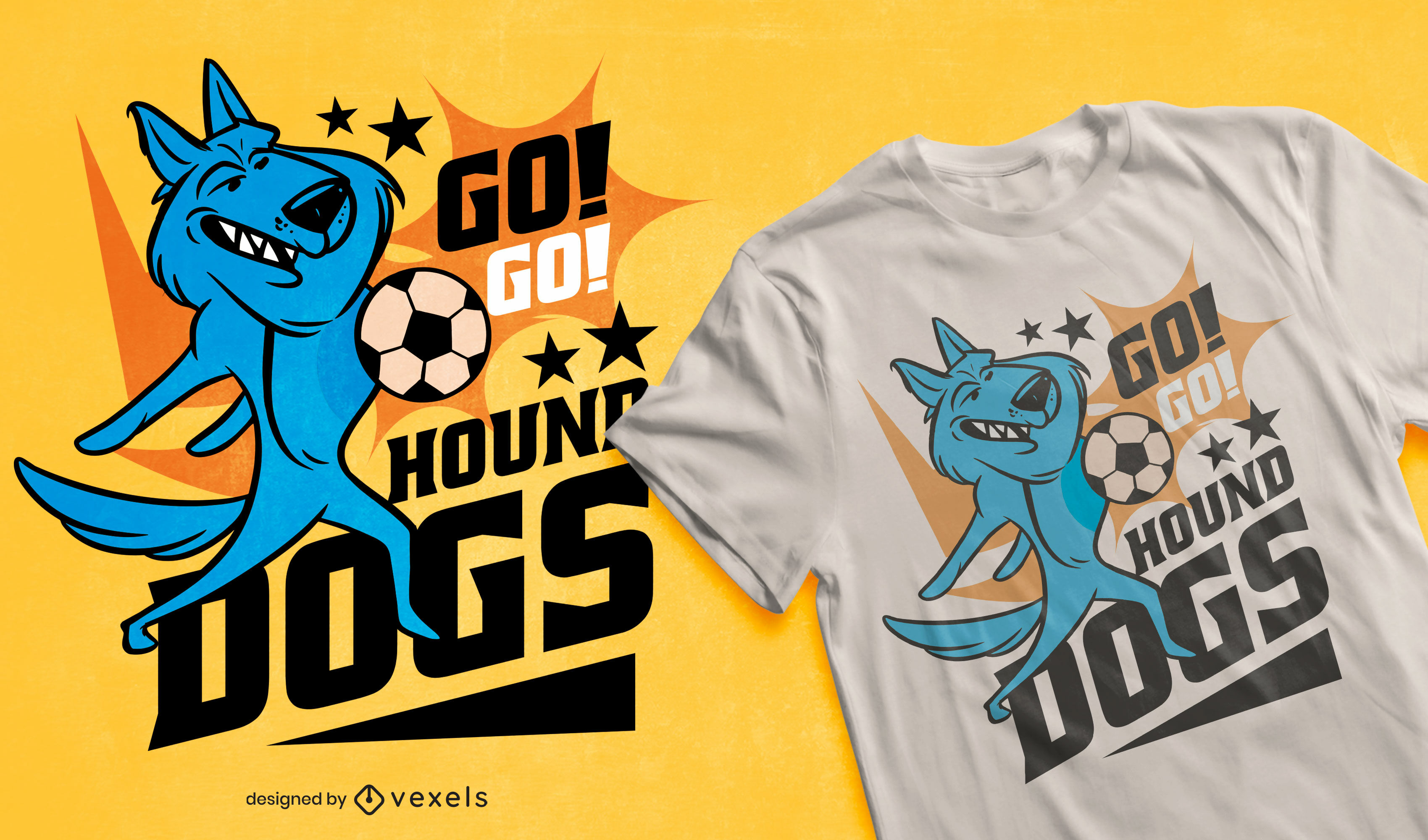 Cartoon dog playing football t-shirt design