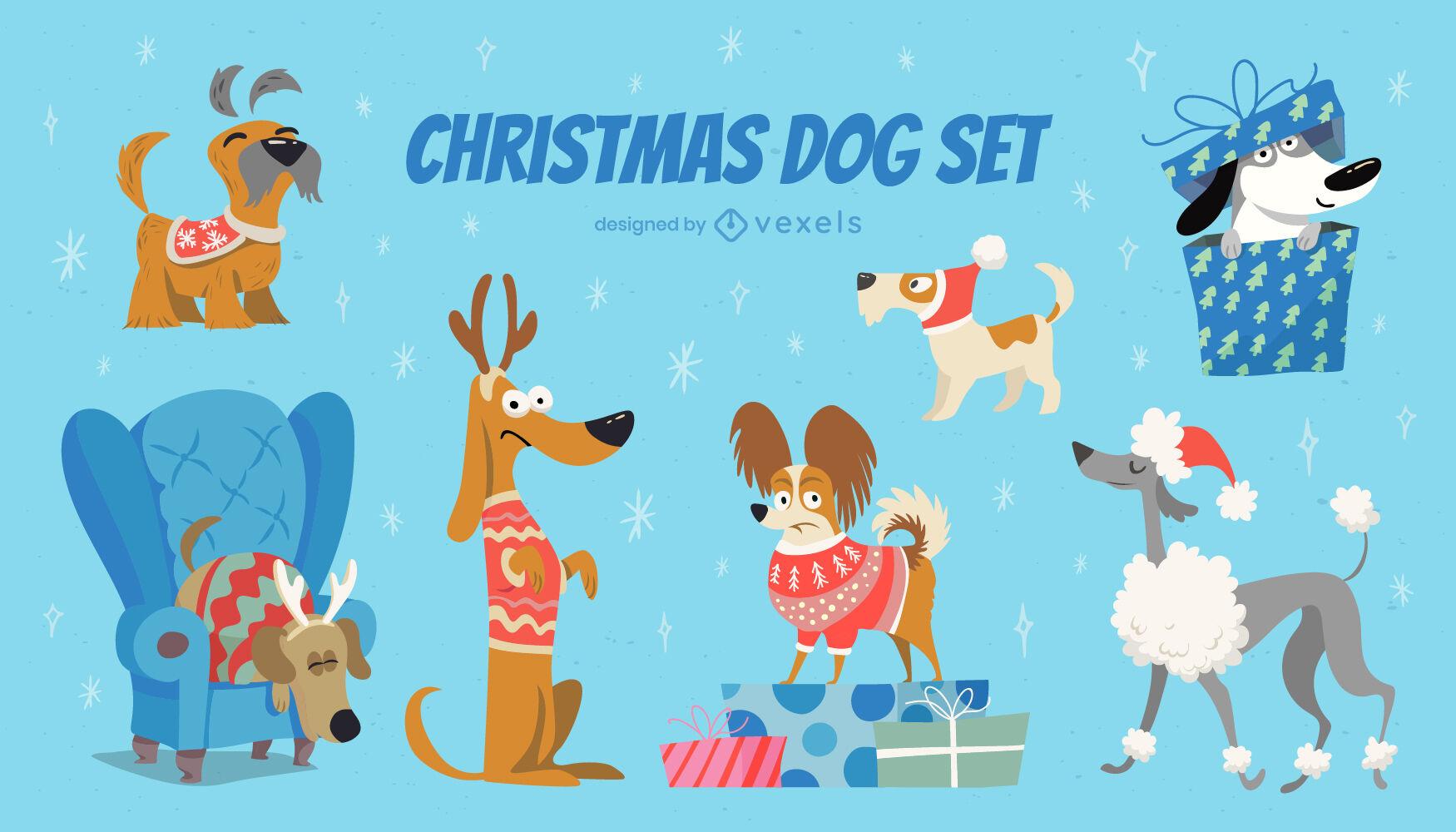 Conjunto de animales de perro de dibujos animados de vacaciones de Navidad