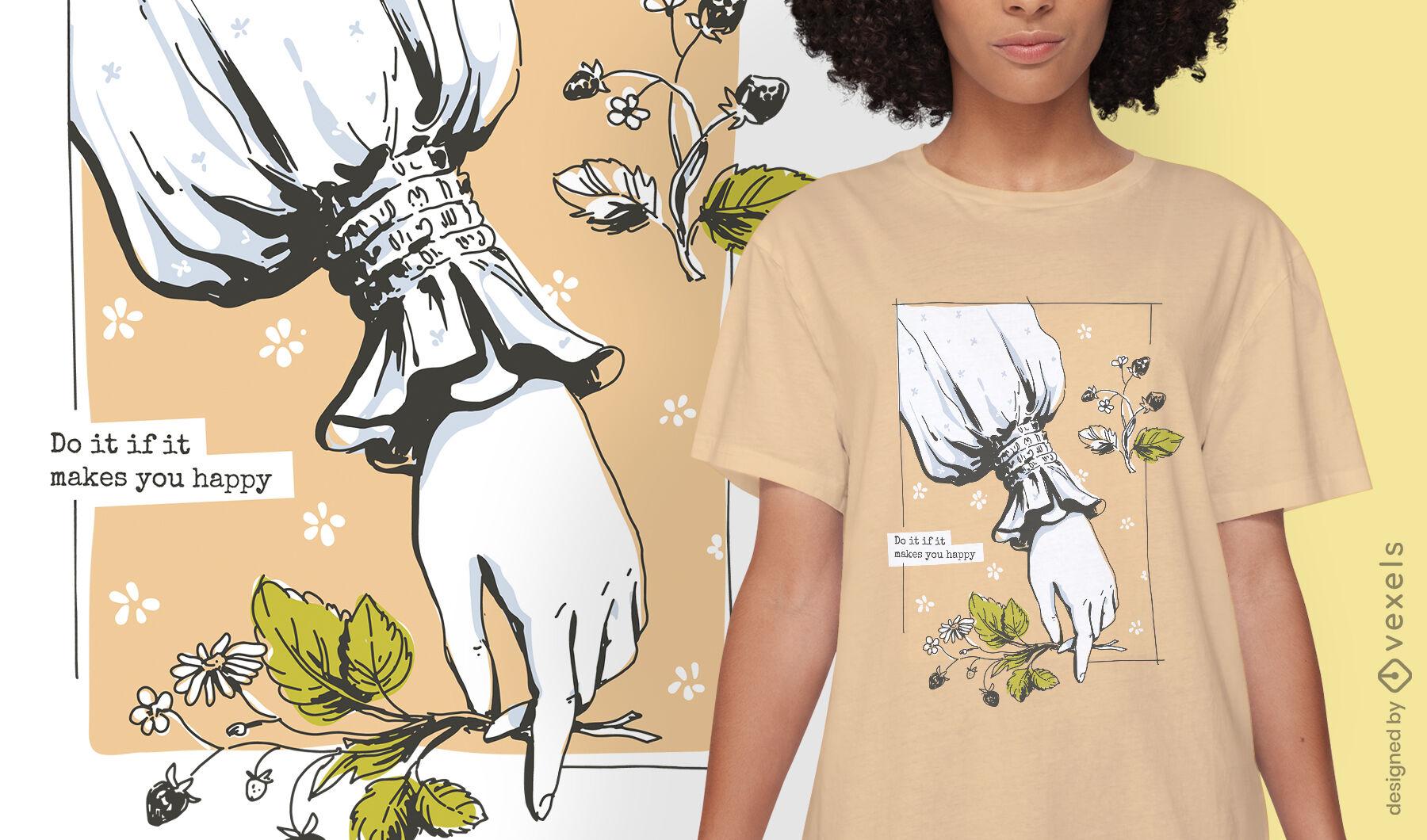 Diseño de camiseta de naturaleza de estilo de vida de Cottagecore
