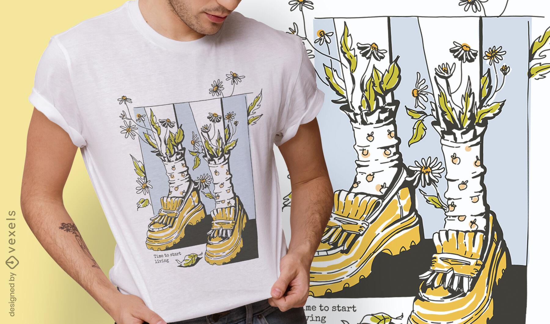 Diseño de camiseta de ropa de estilo de vida de Cottagecore.