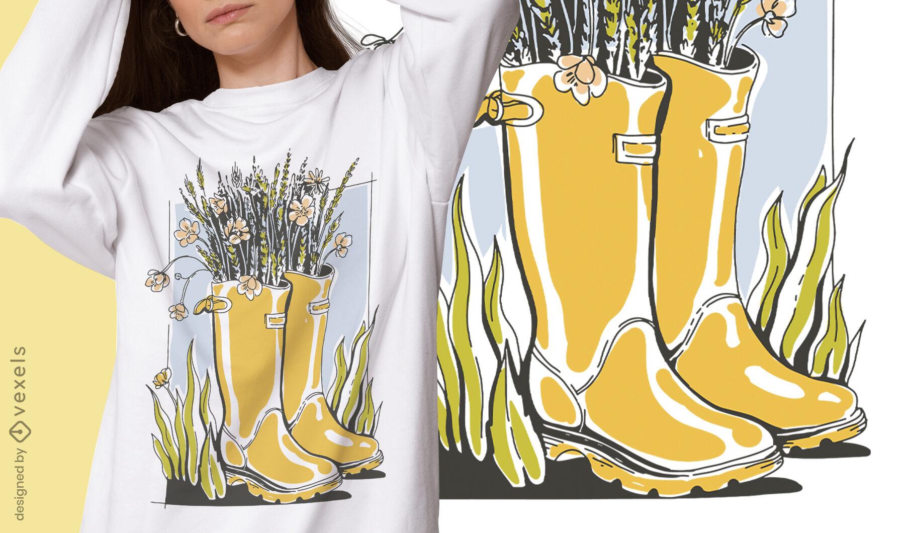 Design de t-shirt com botas Cottagecore lifestyle