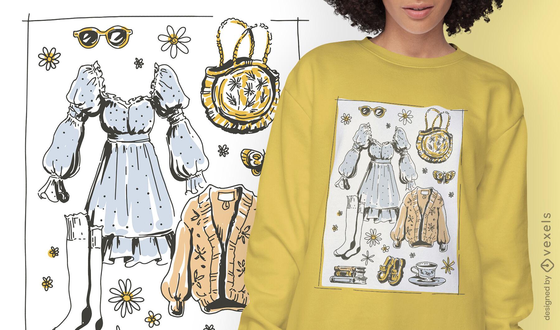 Diseño de camiseta de moda de estilo de vida de Cottagecore