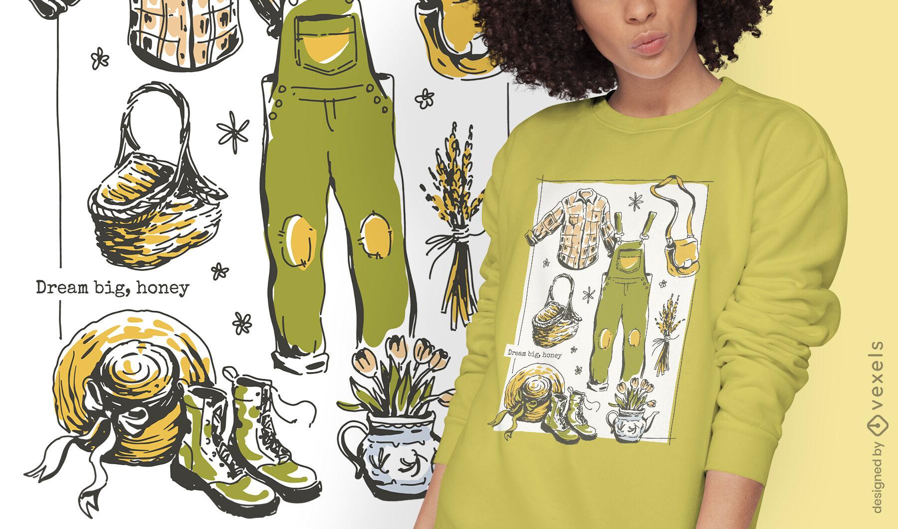 Diseño de camiseta de cottagecore lifestyle farm