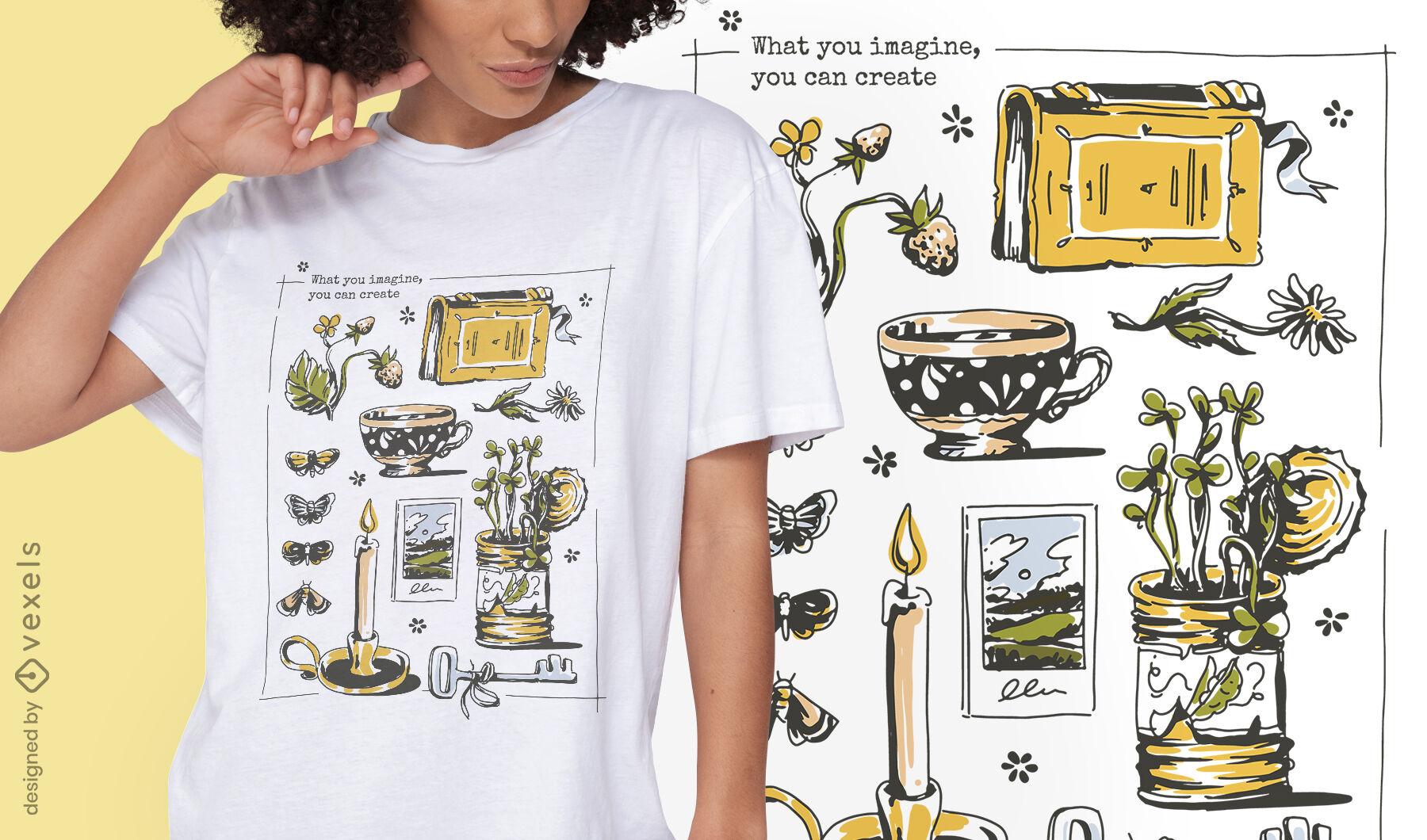Diseño de camiseta de elementos de estilo de vida de Cottagecore