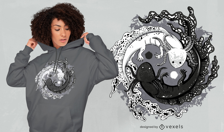 Axolotl yin yang balance t-shirt design