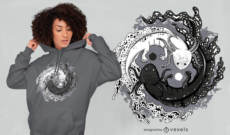 Diseño de camiseta axolotl yin yang balance
