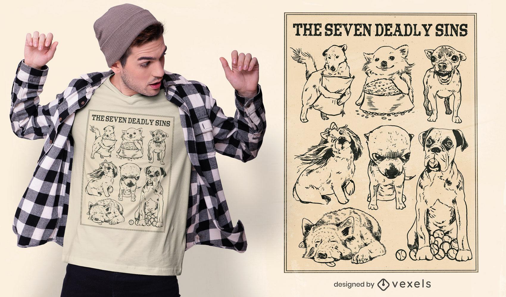 Dog seven deadly sins t-shirt design