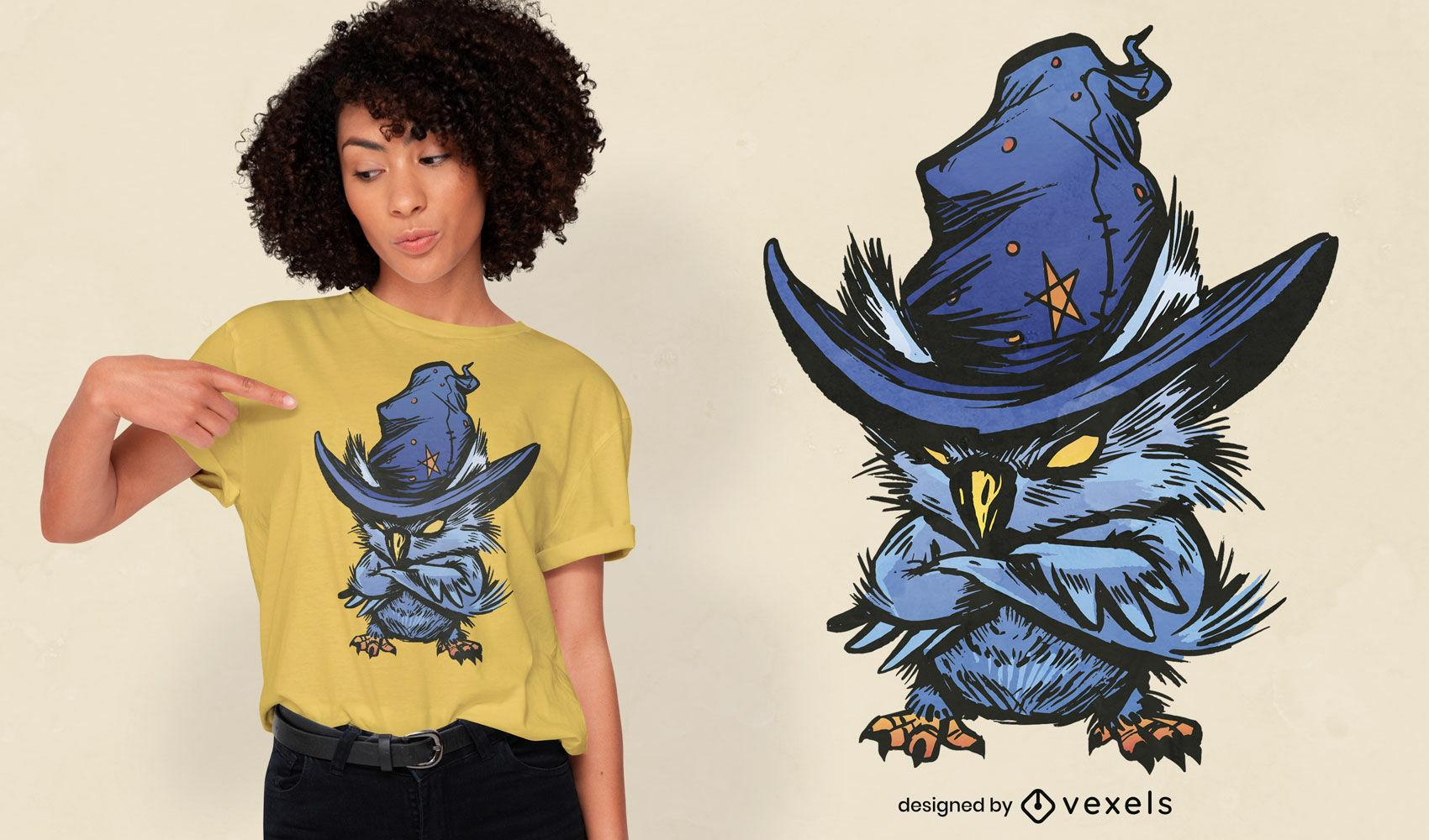 Coruja zangada com design de t-shirt de chapéu de bruxa