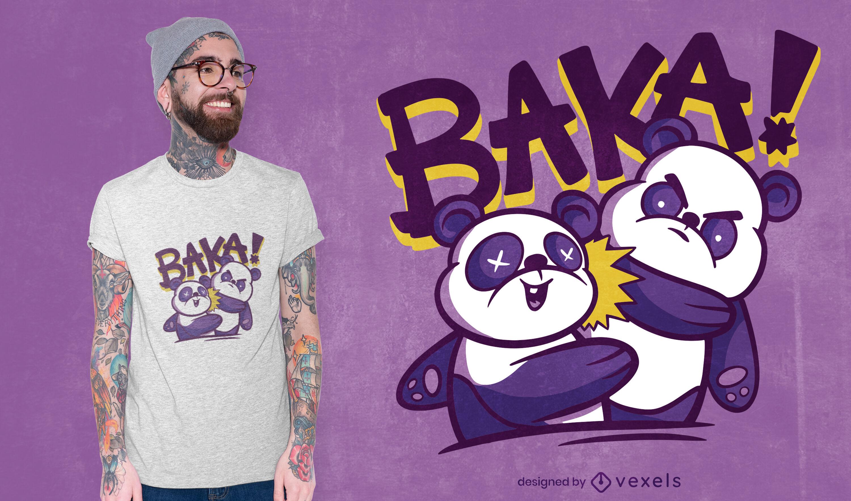 Diseño de camiseta baka slap panda
