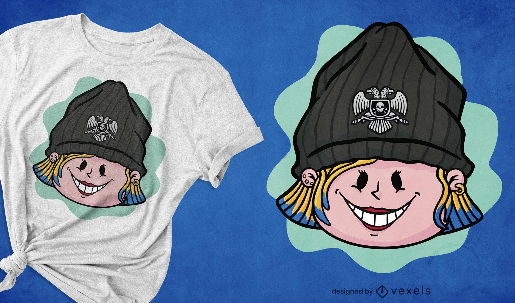 Chica genial con diseño de camiseta de dibujos animados de sombrero