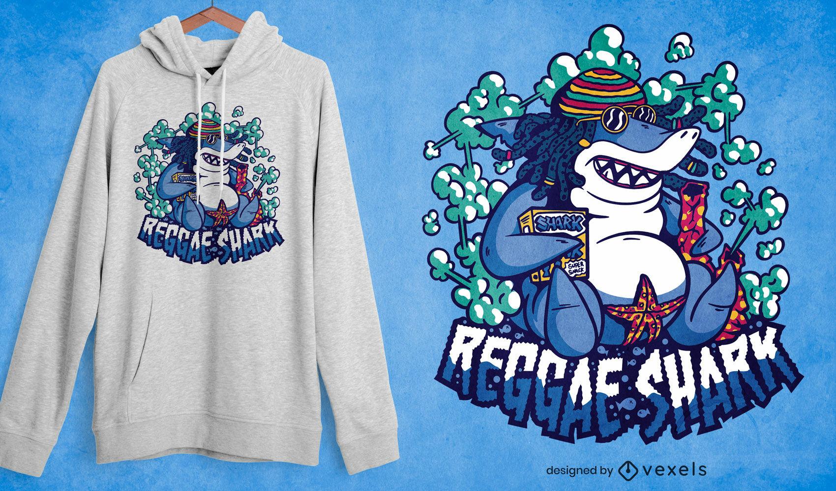 Dise?o de camiseta de dibujos animados de tibur?n reggae.