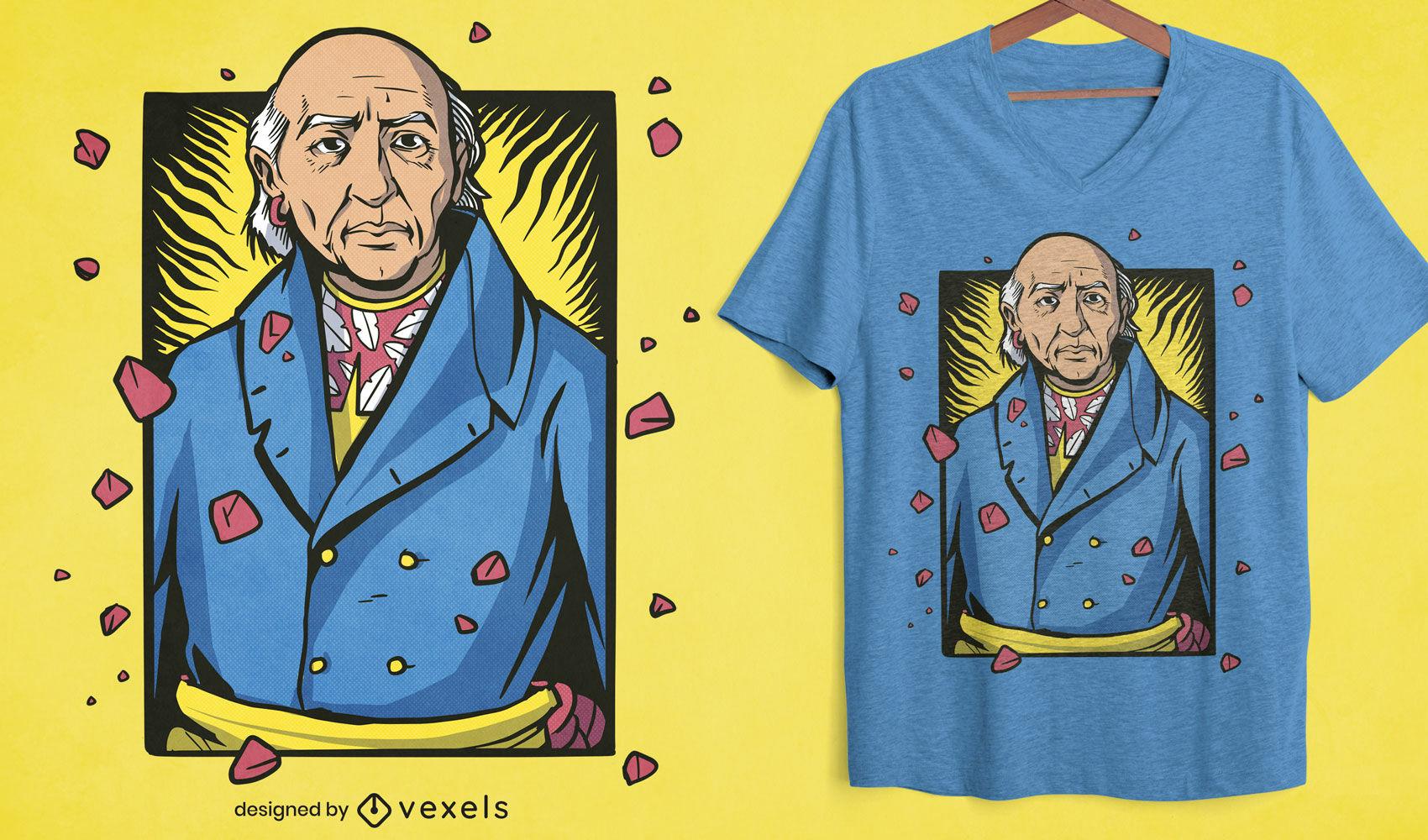 Miguel Hidalgo hawaiian t-shirt design